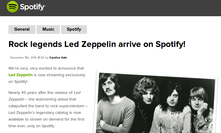 Led Zeppelin is now streaming on Spotify ~ LIVE music blog
